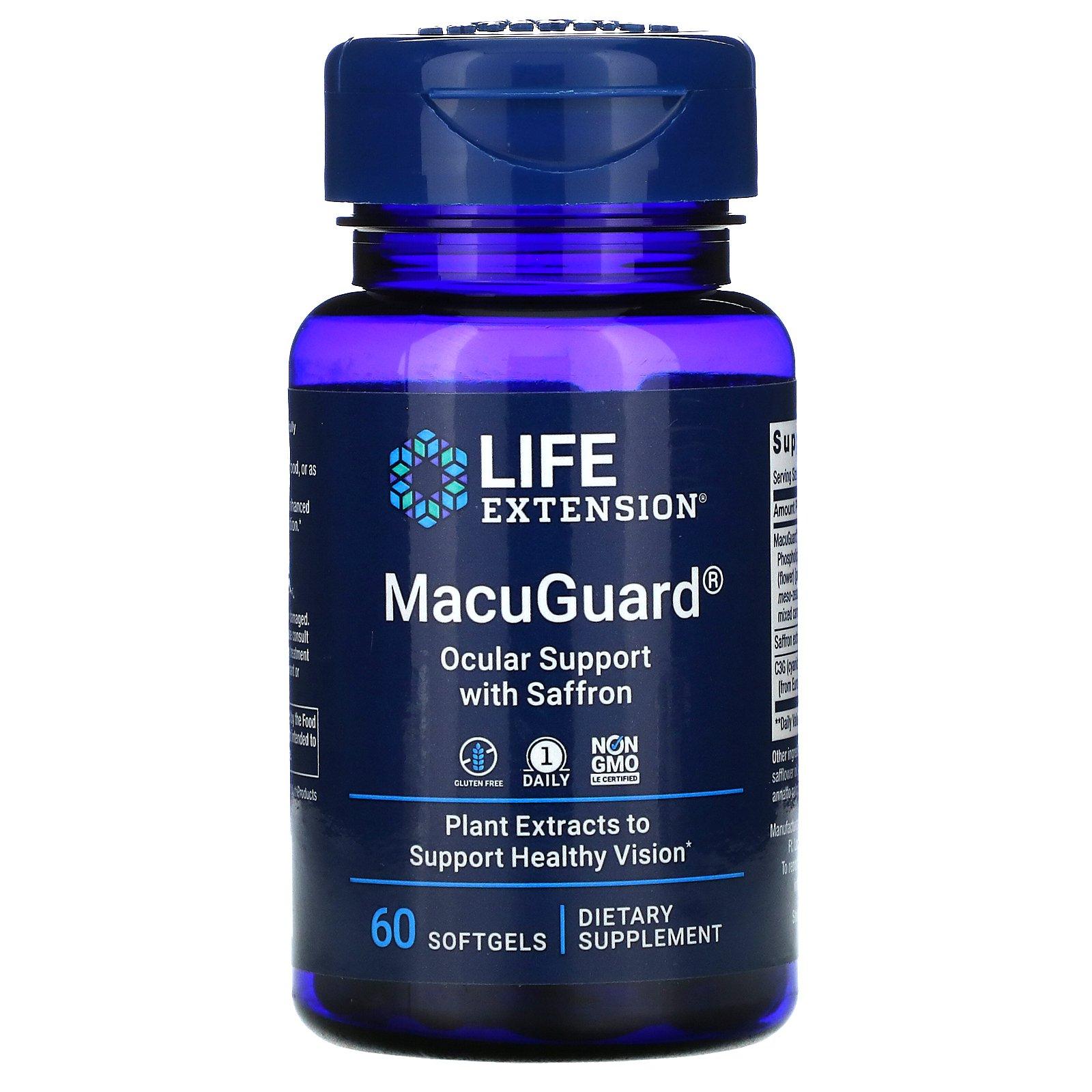 Life Extension, MacuGuard, препарат с шафраном для укрепления зрения, 60 мягких таблеток