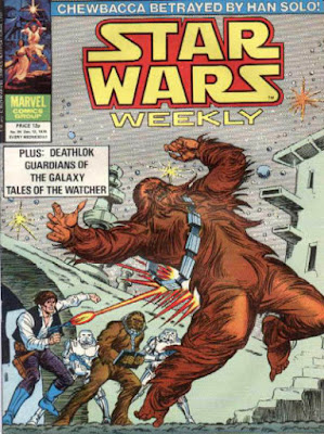 star wars weekly #94, Han Solo shoots a wookie on the back