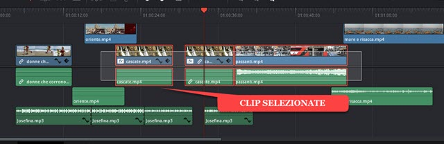 selezione multipla di clip in davinci resolve