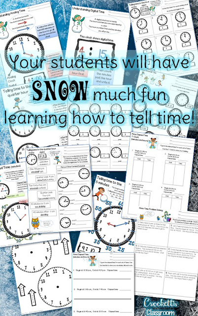 "Time to teach telling time to your students!  They'll have ""snow"" much fun learning to tell time to the hour, half hour, quarter hour, 5-minute and 1-minute intervals with this packet.  Tons of practice pages and student reference sheets to use with your lessons."