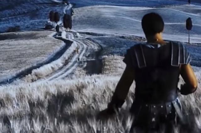 Gladiator scena w zbożu