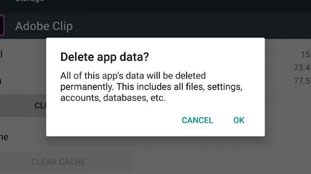 delete app cache memory
