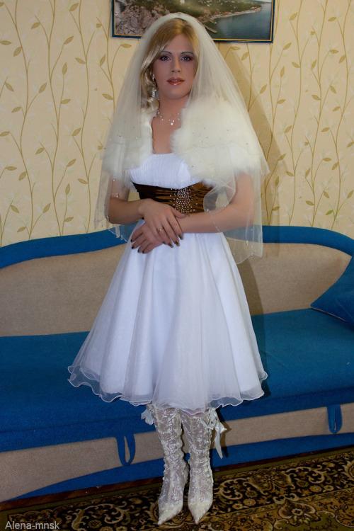 cross-dresser in bride makeup