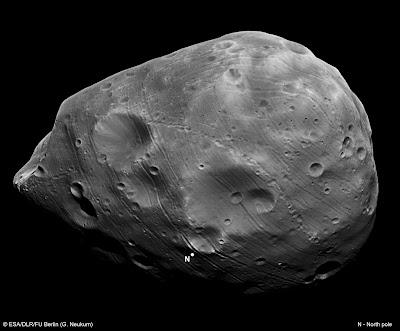 Similar aun gran asteroide es la mayor luna de Marte: Phobos