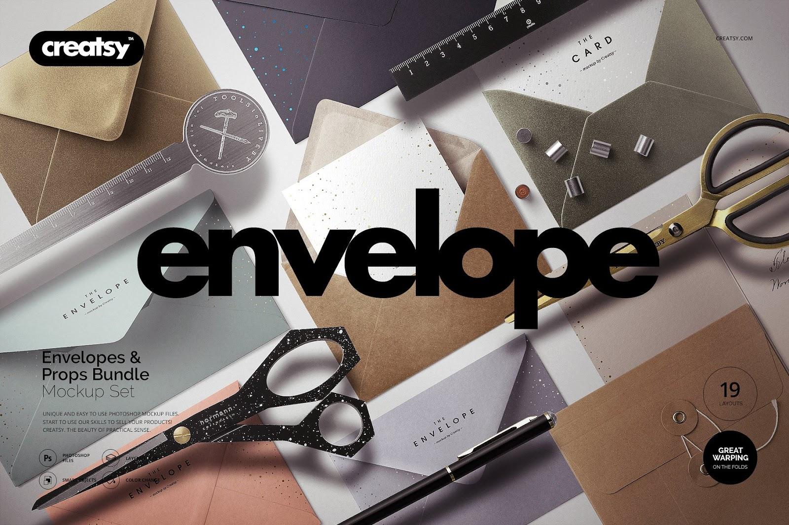 Envelopes Mockup Set with Props