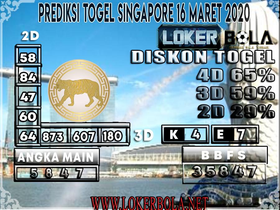 PREDIKSI TOGEL SINGAPORE LOKERBOLA 16 MARET 2020