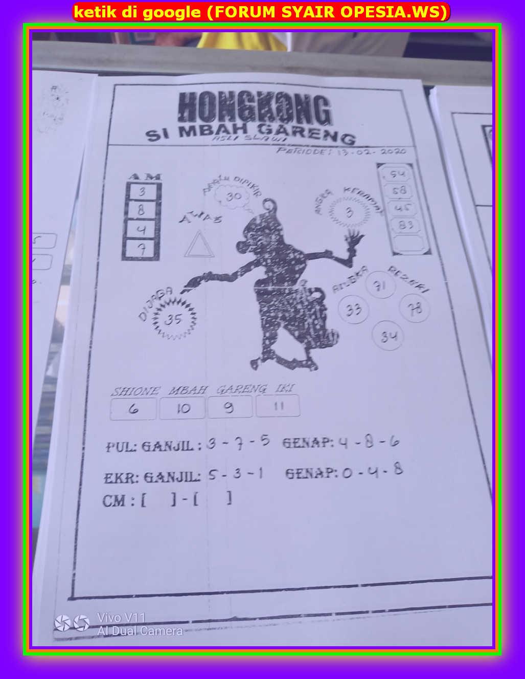 Kode syair Hongkong Kamis 13 Februari 2020 32