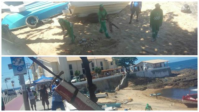 Mutirão de limpeza na Praia de Santana