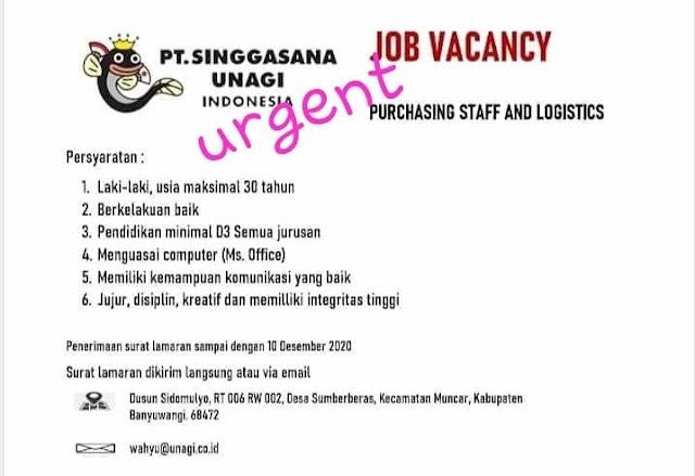 Purchasing Staff and Logistic di PT Singgasana Unagi Indonesia
