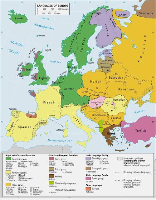Mapa de lenguas en Europa