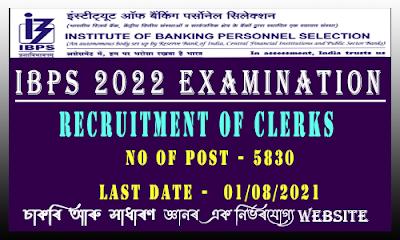 IBPS Clerk Examination 2022 for 5830 Clerk Vacancy