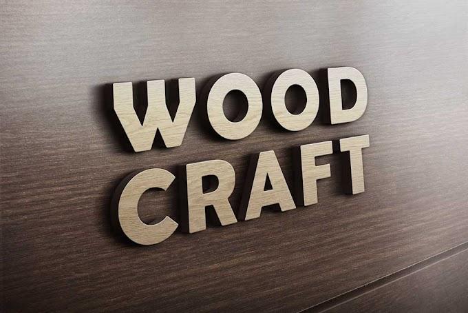 Wood Craft 3D logo mockup