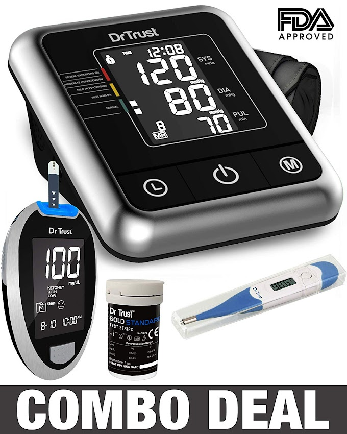 Dr Trust Electric Digital Blood Pressure Machine + Glucose Blood Sugar Testing Glucometer Monitor