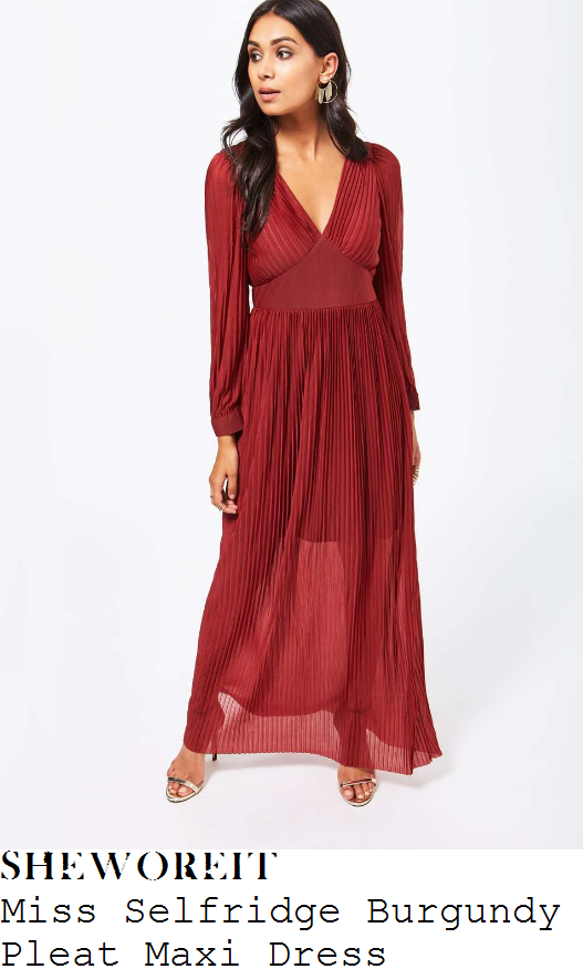 lydia-bright-miss-selfridge-burgundy-cranberry-red-long-sleeve-plunge-front-cinched-waist-semi-sheer-pleated-maxi-dress