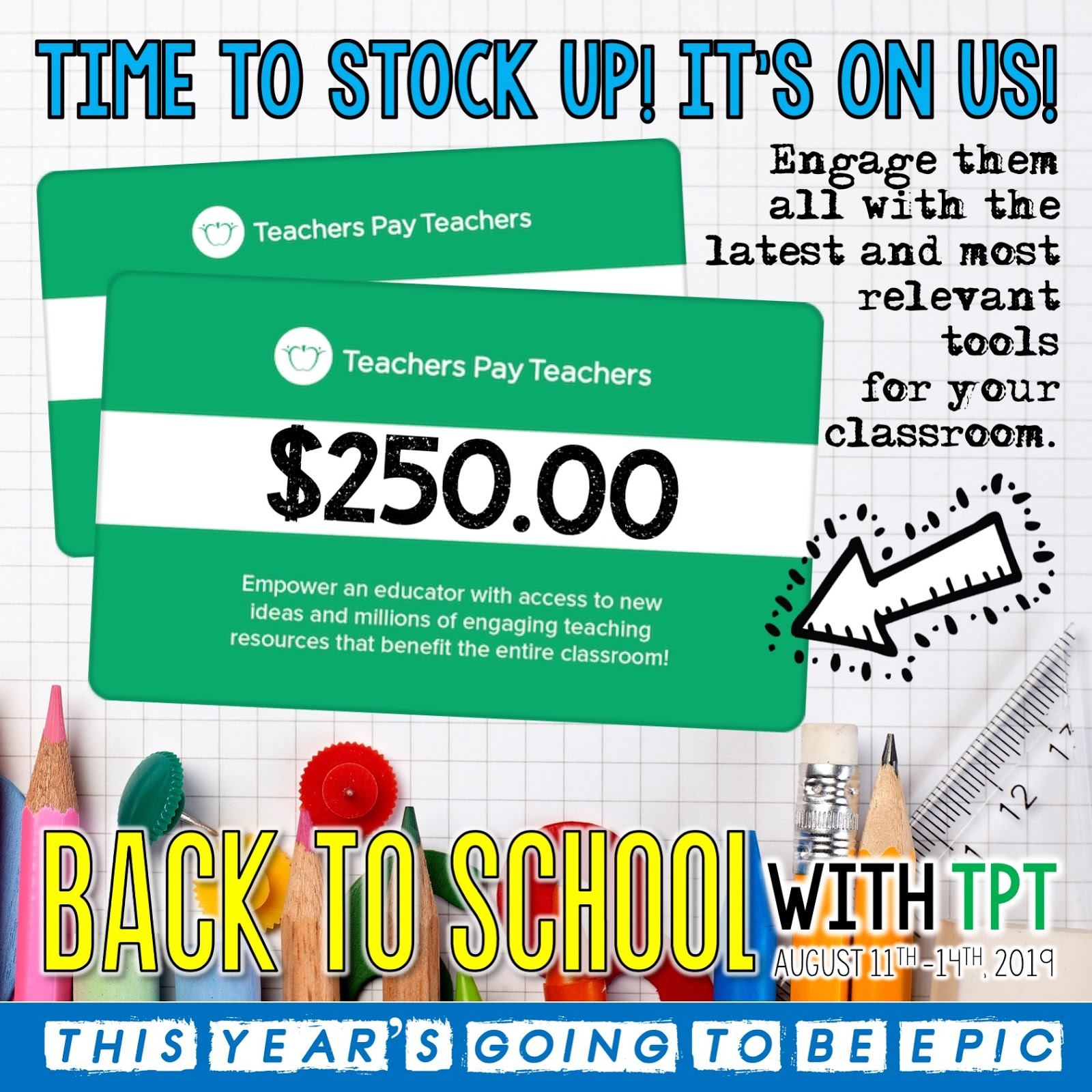 - An Apple For The Teacher: $250 Teachers Pay Teachers Gift Card