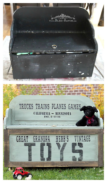 Old Family Toy Box Lettered & Painted, Bliss-Ranch.com
