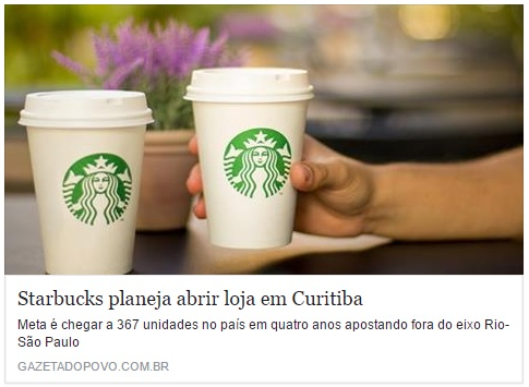 Starbucks planeja abrir loja em Curitiba