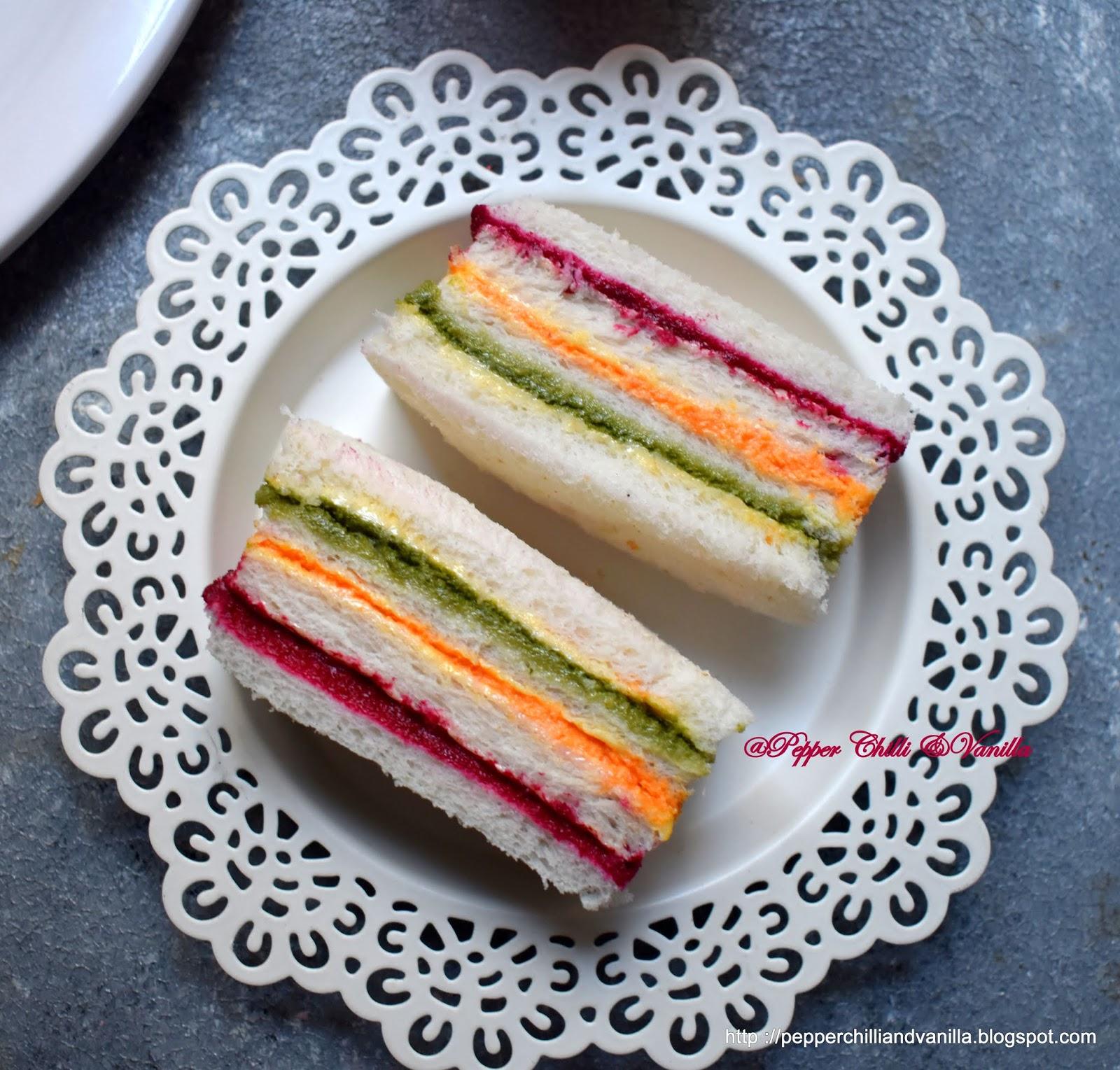veg ribbon sandwich ,rainbow sandwich recipe