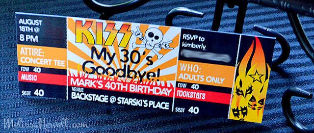 KISS my 30's goodbye birithday, concert ticket invite, KISS birthday