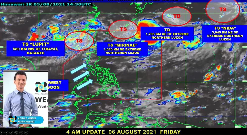 Satellite image of Southwest Monsoon and other weather systems