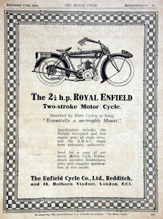 Period advertisement for Royal Enfield motorcycle.