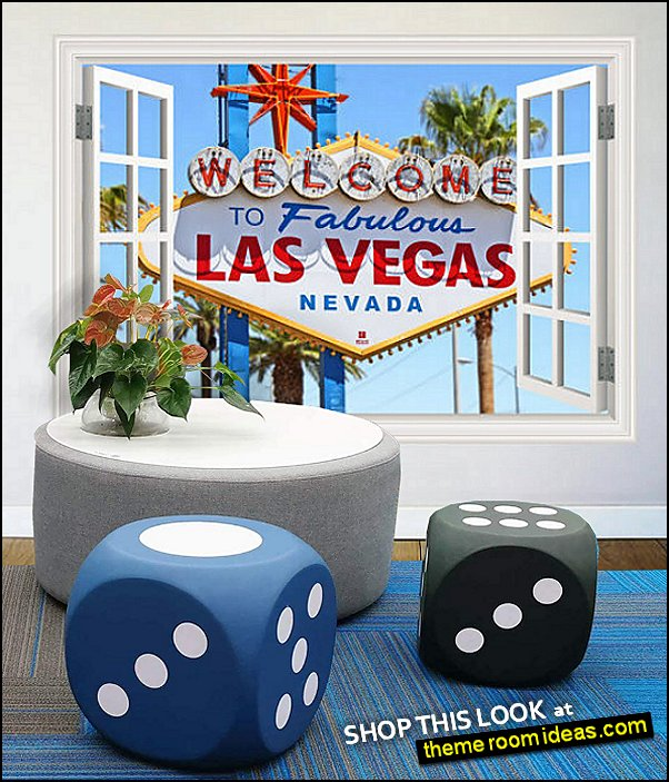 Las Vegas Nevada  wall decal dice furniture casino lounge decorating ideas game room decorations