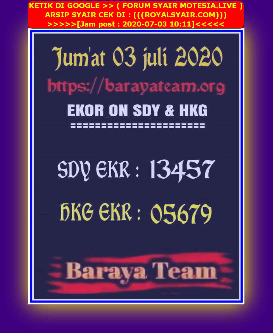 Kode syair Sydney Jumat 3 Juli 2020 100