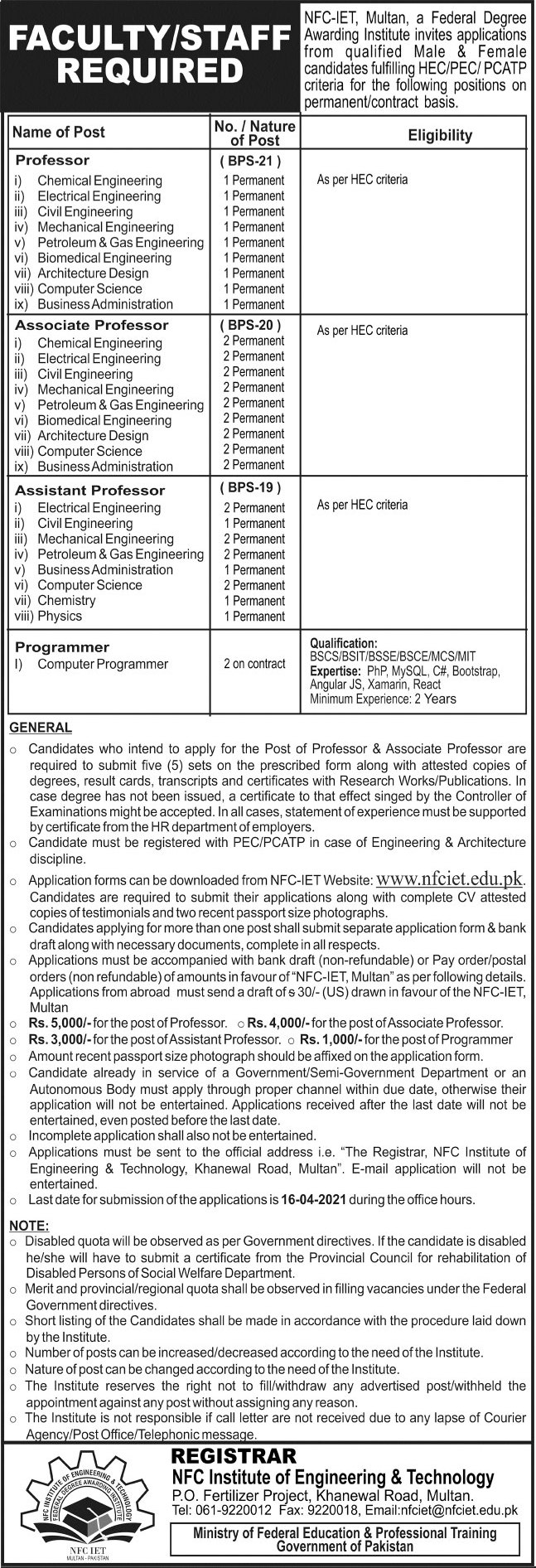 Institute of Engineering & Technology NFC Jobs in Multan