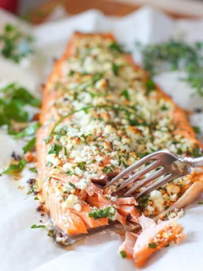 Feta and Herb Crusted Salmon - Easy and Fresh Salmon that bakes up with no mess!