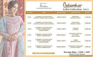 Shree Fab Qalamkar Lawn Coll-3 Pakistani Suits