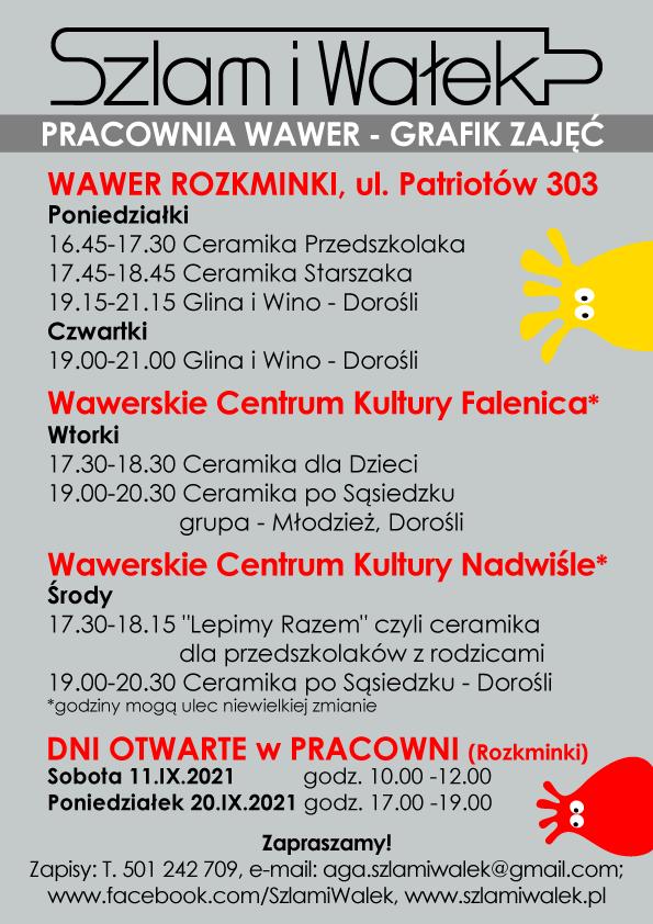 Grafik warsztatów ceramicznych 2021/22  Wawer