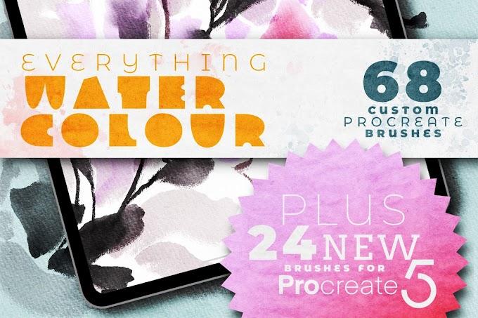 68 Custom Procreate Brush | EVERYTHING WATERCOLOUR for Procreate