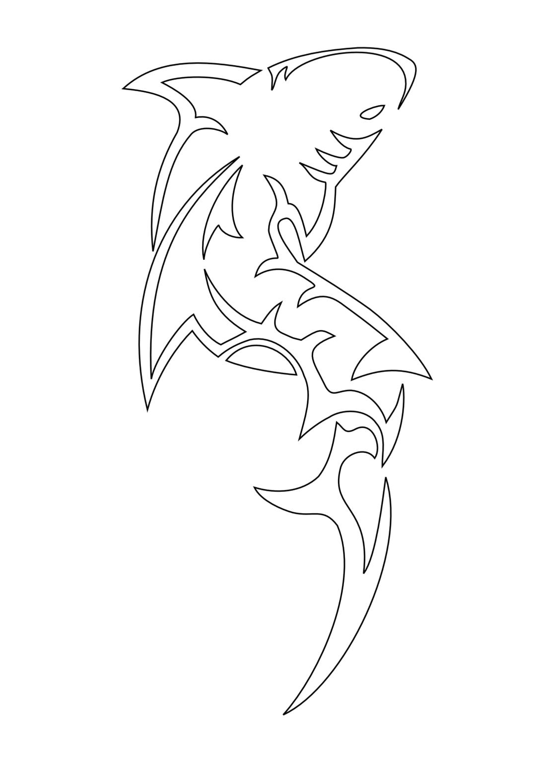 Shark Maori tribal tattoo stencil
