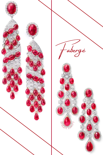 Fabergé Krasny 18k white gold diamond & ruby drop and chandelier earrings #brilliantluxury