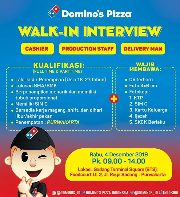 Info Loker Walk Interview Domino Pizza Purwakarta