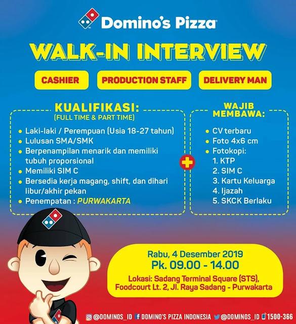 Info Loker Walk Interview Domino Pizza Purwakarta