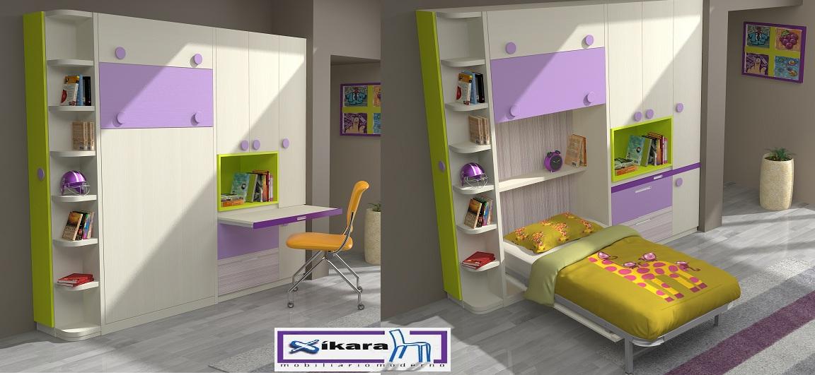 Camas abatibles para ni os - Ideas para amueblar una habitacion pequena ...