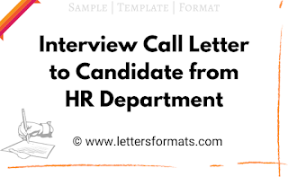 interview call letter to candidate