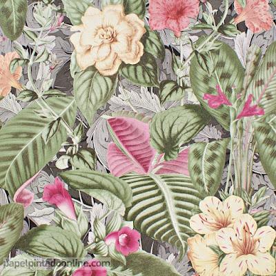 Papel Pintado Liquidación Flores Colores Vivos Magentas, Verdes y Amarillos