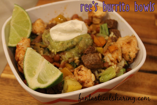 Ree's Burrito Bowls // Load it up or keep it simple, these burrito bowls are perfect for a crowd who wants to customize their dinner to their tastes! #recipe #maindish #steak #chicken