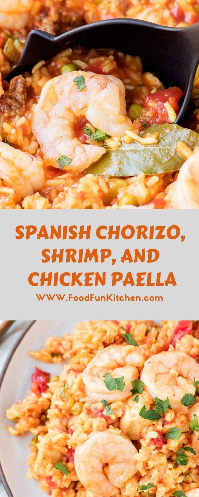 SPANISH CHORIZO, SHRIMP, AND CHICKEN PAELLA