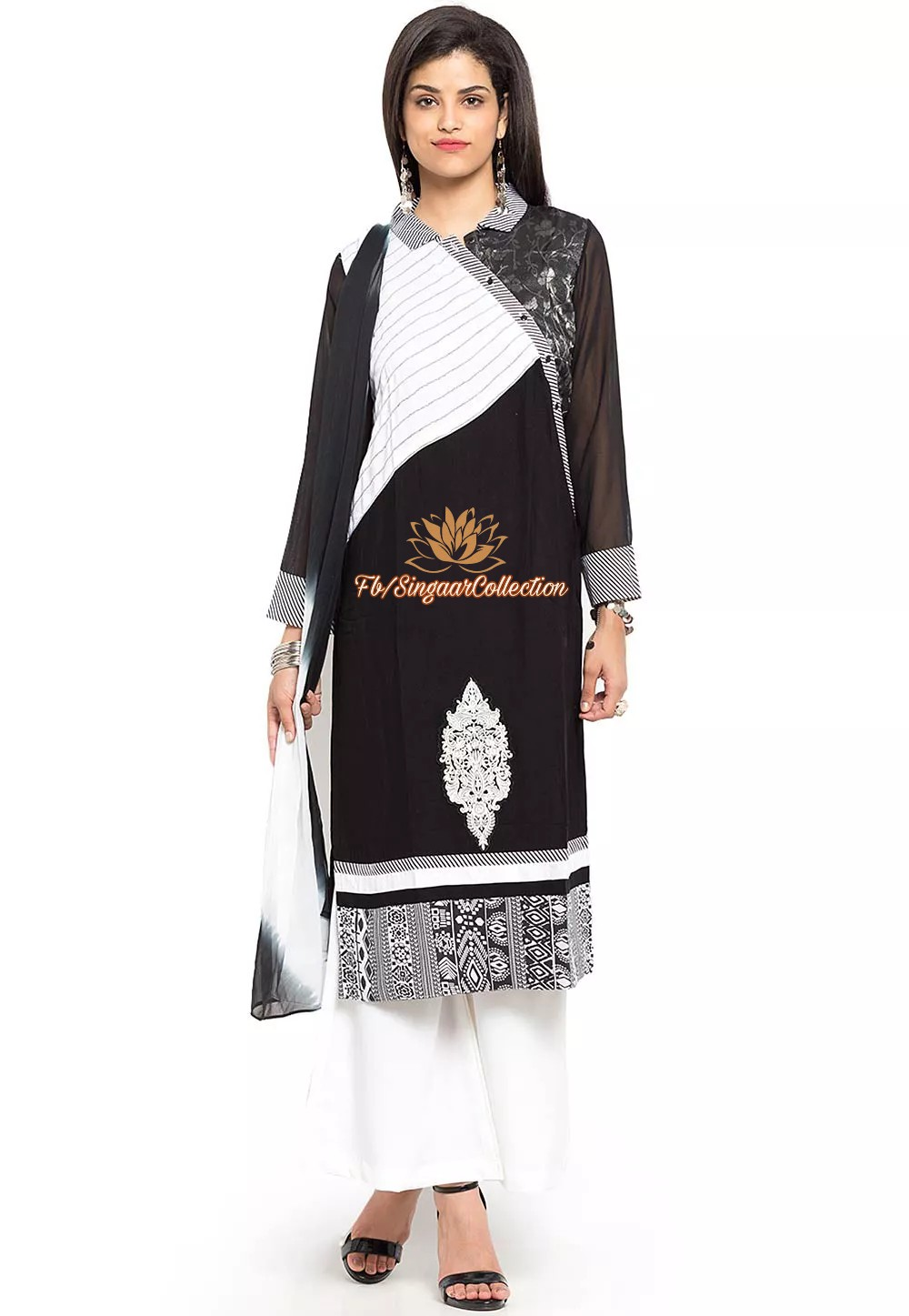 49238bf498 Embroidered Cotton Pakistani Suit in Black & White - Singaar Collection