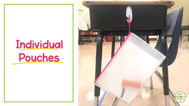 Individual pouches to hold supplies in a socially distanced classroom.