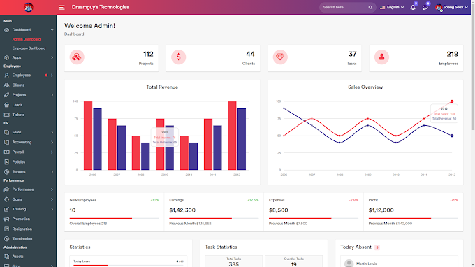 HR System Management Admin Dashboard