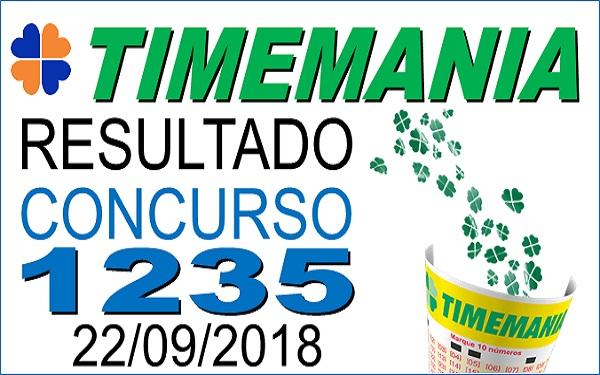 Resultado da Timemania concurso 1235 de 22/09/2018 (Imagem: Informe Notícias)