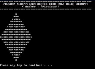 Source Code Mencetak Bentuk Belah Ketupat Dengan Bahasa C