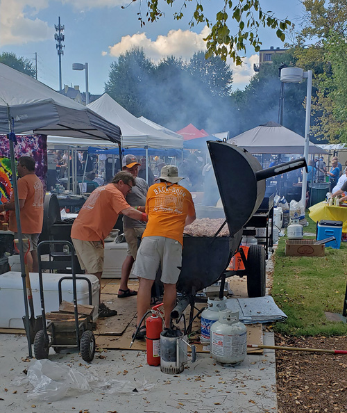 smoking wings at Big Kahuna Wing Festival in Knoxville, TN