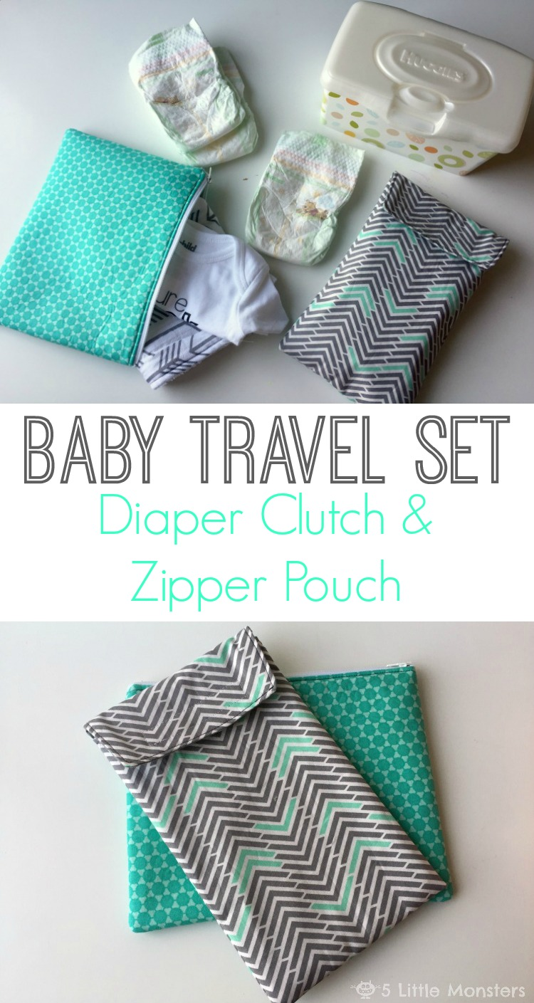Baby Travel Set- Diaper Clutch and Zipper Pouch