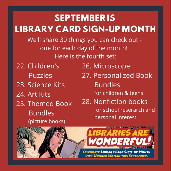 4th set of things to check out 22 Children's Puzzles 23 Science Kits 24 Art Kits 25 Themed Book Bundles 26 Microscope 27 Personalized Book Bundles 28 Nonfiction Books