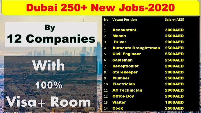 Jobs In Dubai By 12 Companies| 250+ Vacancies In UAE 2020